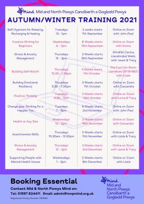 Autumn Winter Training Schedule 2021
